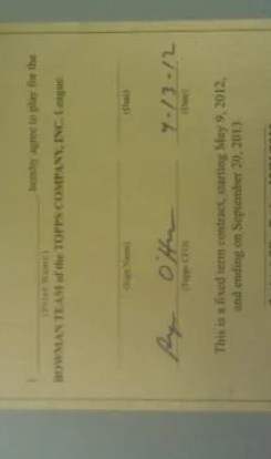 2012 Bowman Baseball Player Contract