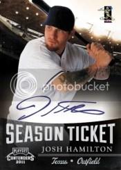 2011 Panini Contenders Josh Hamilton Season Ticket Auto