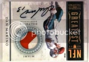 2011 Panini National Treasures NFL Greatest Dan Marino Prime Jersey Autograph Card