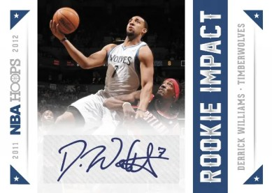 2012-13 NBA Hoops Rookie Impact Autograph Derrick Williams Card