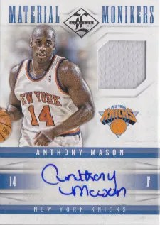 12/13 Panini Limited Material Monikers Anthony Mason Autograph Card