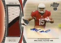 2012 Topps Prime Michael Floyd Patch Autograph Card #/15