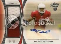 2012 Topps Prime Michael Floyd Patch Autograph Card #/15