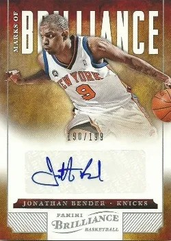 12/13 Panini Brilliance Jonathan Bender Marks of Brilliance Auto