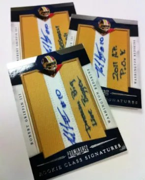 2012 Panini Prominence Special RGIII Letter I Autograph Cards