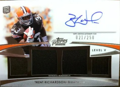 2012 Topps Prime Trent Richardson Autograph Signed By Brandon Weeden
