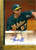 2012 Topps Update Tom Milone Autograph Card