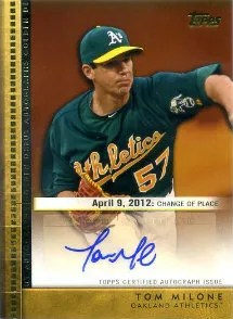 2012 Topps Update Series Golden Debut Autograph #GDA-TM Tom Milone - A's
