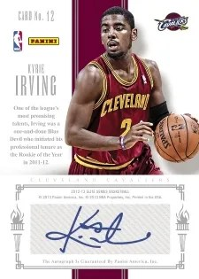 212/13 Elite Series Kyrie Irving Passing the Torch Auto