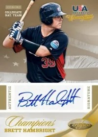2013 Panini USA Baseball Champions Brett Hambright Certified Gold
