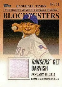 2012 Topps Update Blockbusters Relic BBR-YD Yu Darvish #/50