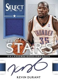 12/13 Panini Select Stars Kevin Durant Jersey Autograph