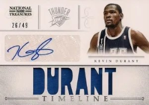 12/13 National Treasures Kevin Durant Timeline Materials Autograph/Jersey