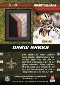 2013 Donruss Elite Fourth And Goal Drew Brees Prime Jersey