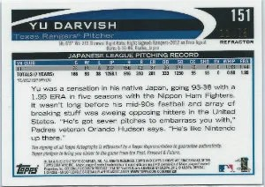 2012 Topps Chrome Yu Darvish Japanes Variation Sepia Autograph Back #11/75
