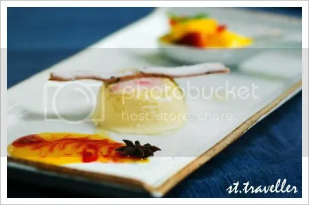 Honey and ginger iced mousse with strawberry and mango compote, star anise-flavoured sauce and crispy wafer.