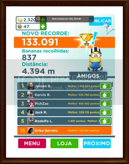 Minion rush record e facebook