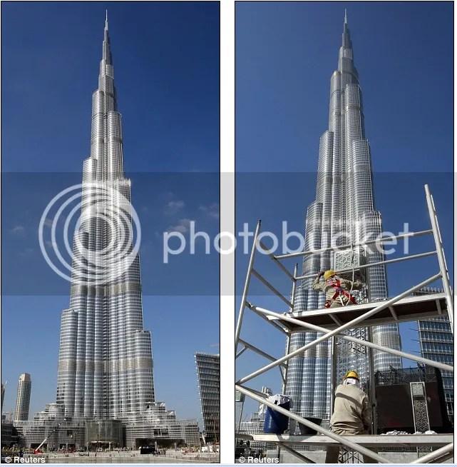 bagian- bagian yang belum selesai dari gedung pencakar langit tertinggi di dunia burj dubai