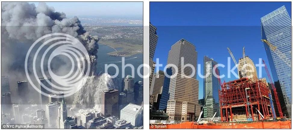 Foto gedung kembar WTC yaang luluh lantak dan kondisi di zero  ground saat ini