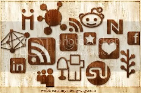 Wood Social Networking Icons