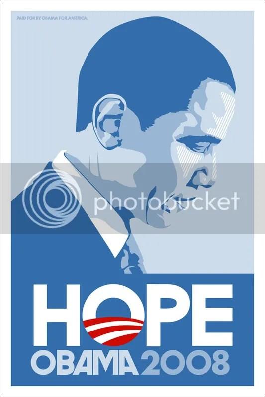 Barack Obama Hope Poster in Light Blue Cutout