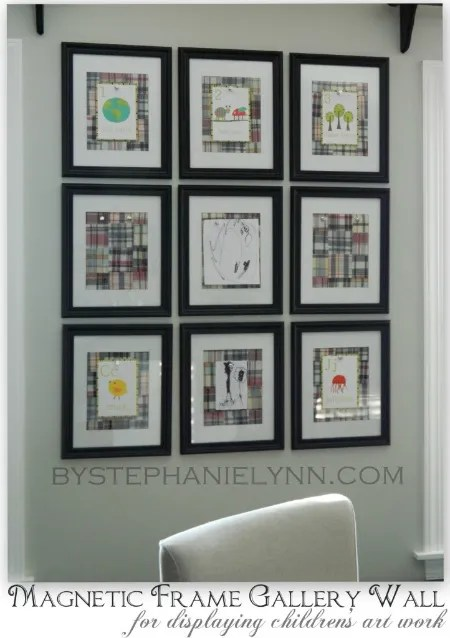 DIY Magnetic Frame Gallery Wall To Display Childrens Art Work Bystephanielynn
