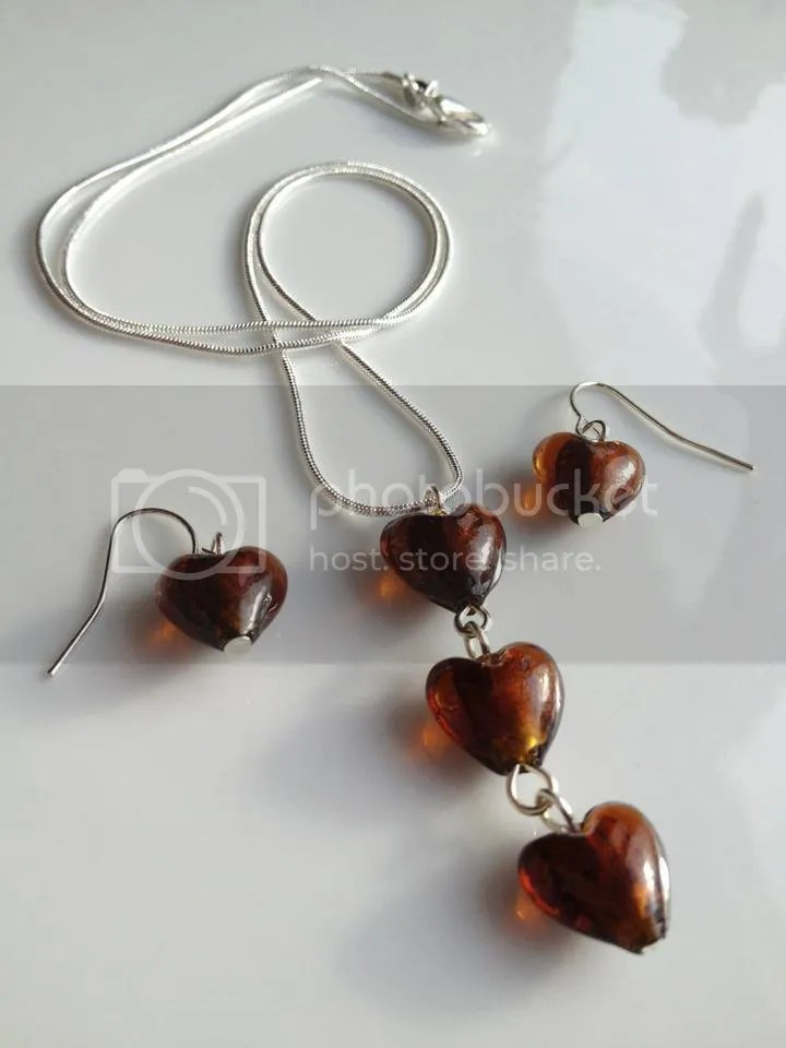 Chocolate Heart Beaded Necklace and Earrings Jewellery