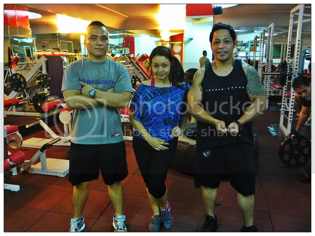 Lara Novales with two Fitness Coach from Eclipse 24/7 Fitness Center Mabini Branch. Coach Ricky and Coahc Zach (Zack?)