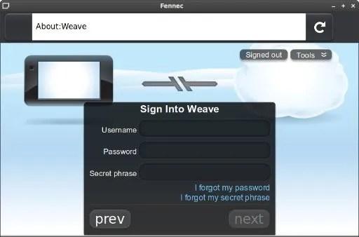 Tampilan awal Weave pada Mozilla Fennec