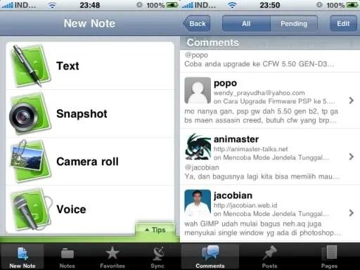 Tampilan Evernote dan WordPress Mobile
