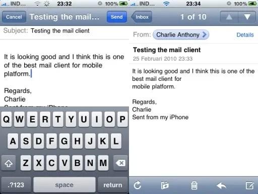 Menulis dan membaca e-mail pada iPhone