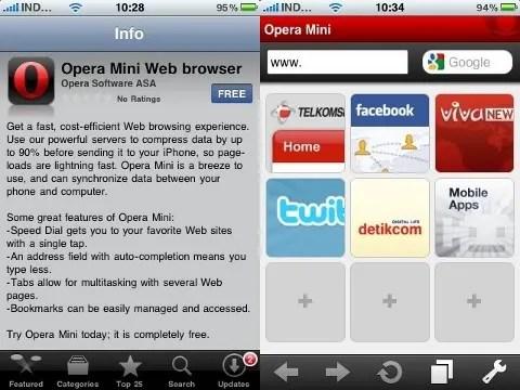 Opera Mini di App Store (kiri) dan tampilan Speed Dial (kanan)