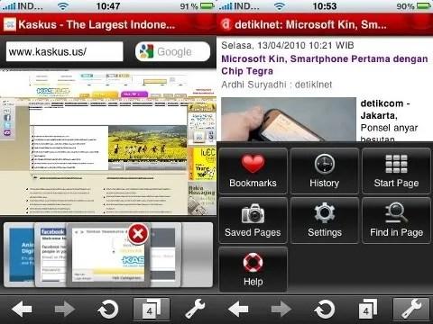 Tabs dan menu pada Opera Mini