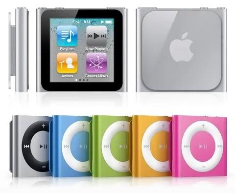 iPod Nano baru (atas) dan iPod Shuffle baru (bawah)