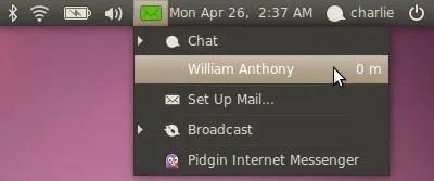 Ikon amplop berwarna hijau ketika ada panggilan atau update