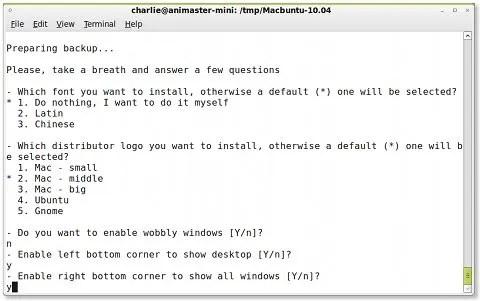 Tampilan proses instalasi Macbuntu