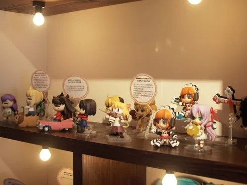 Some Nendoroids are being displayed, including some rare ones