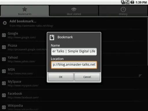 Layar manajemen bookmark