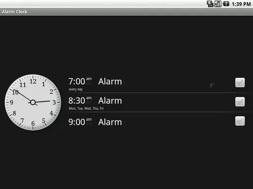 Tampilan aplikasi Alarm Clock