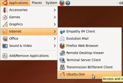 Ubuntu One terinstalasi secara default