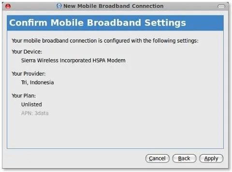 Konfirmasi untuk konfigurasi modem USB