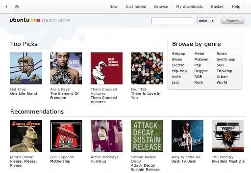 Tampilan toko musik Ubuntu One