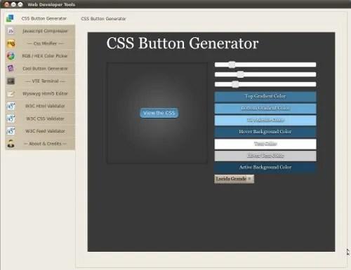 Tampilan aplikasi Web Developer Tools