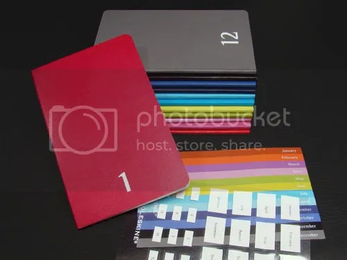 Each Moleskine Color a Day Set includes 12 daily planners and labels for customizing and a hard, protective case.