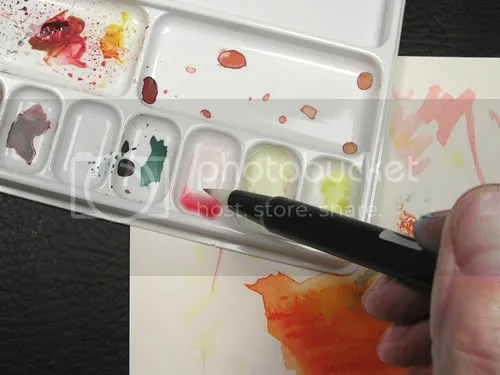 Both watercolor paint and Tombows Dual Brush Markers were used to create multiple layers of color.