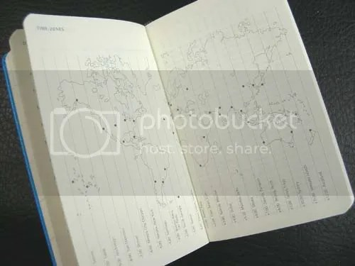 Moleskine Mini Planner pages feature an world time zone map