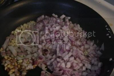 Cook the onion and the garlic together until tender.