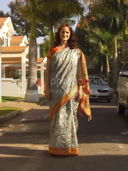 Dani in a saree