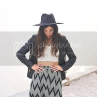 Maxi skirt + black leather jacket