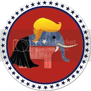 GOP BUTTON TRUMP HAIR FANG CAPE